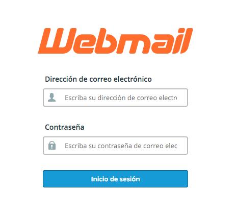 Formulario de inicio de sesión en Webmail