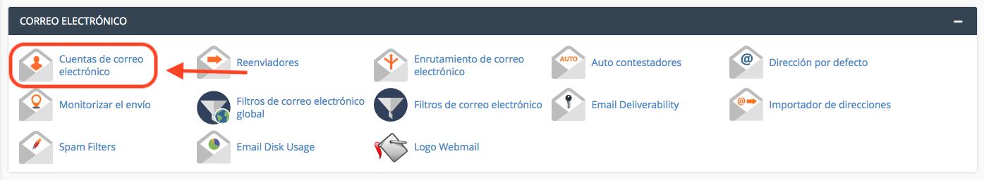 Opción cuentas de correo electrónico de cPanel