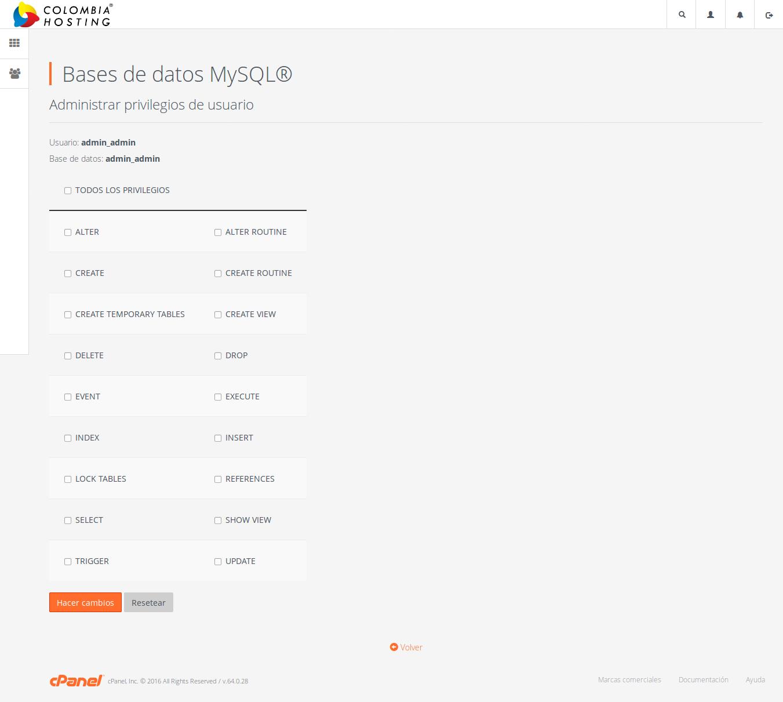 Administrar privilegios de usuarios MySQL
