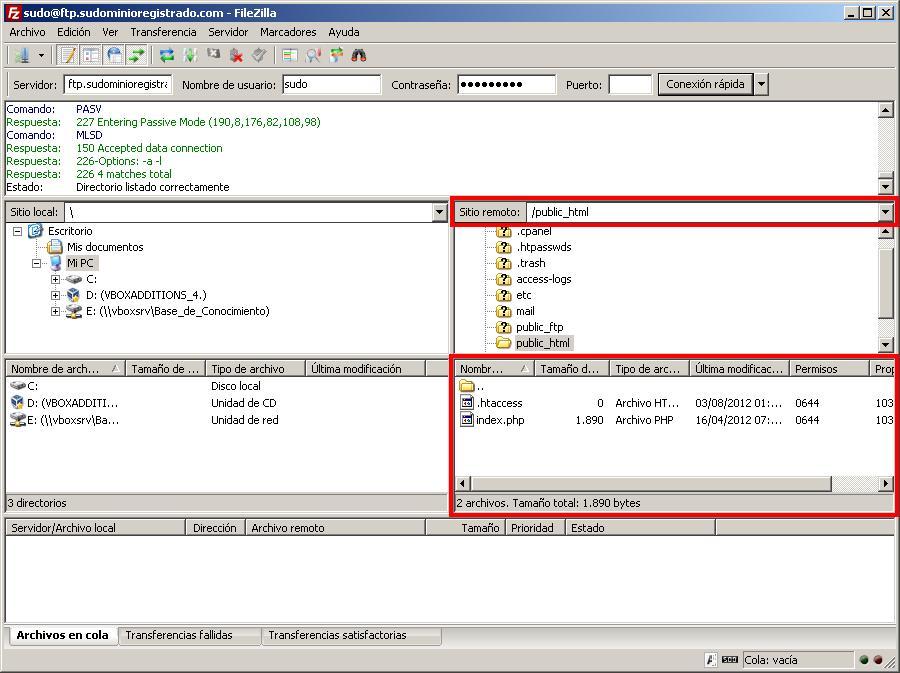 Archivos remotos y locales en FileZilla