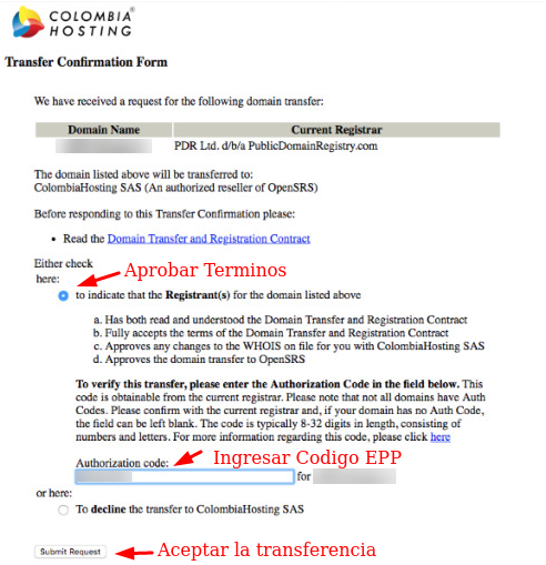 Ingresar código EPP para transferencias de dominio