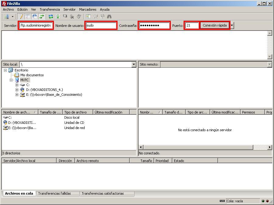 Crear una conexión rápida desde FileZilla