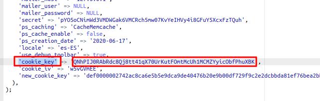 """nformación importante """"cookie_key"""""""