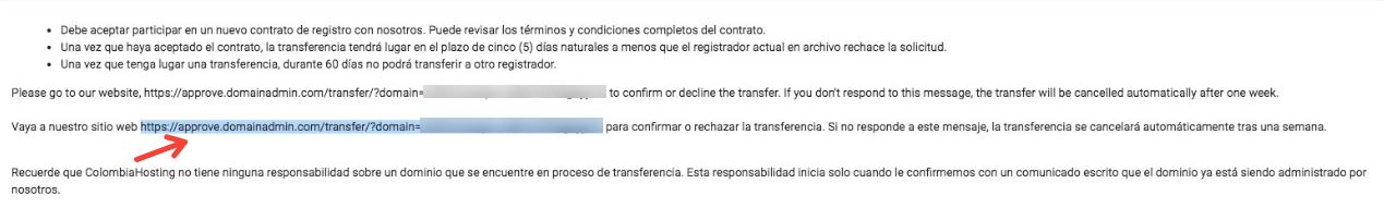 Enlace al que se le debe dar clic para transferir el dominio