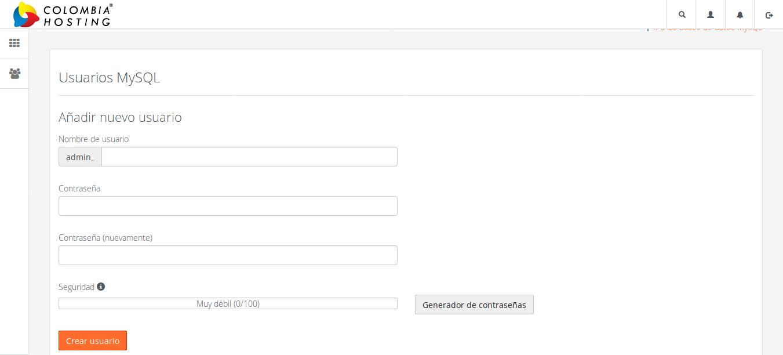 Formulario de usuario MySQL