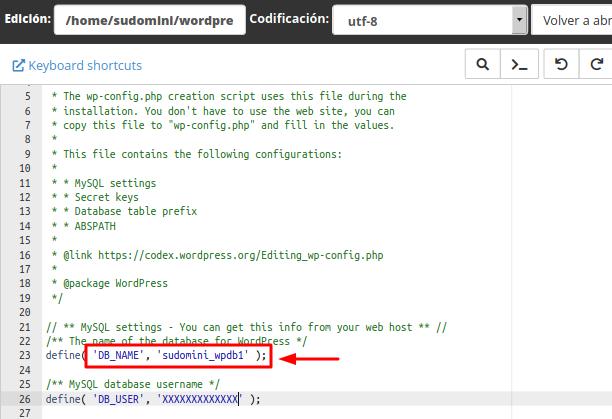 Nombre de la base de datos en el archivo wp-config.php
