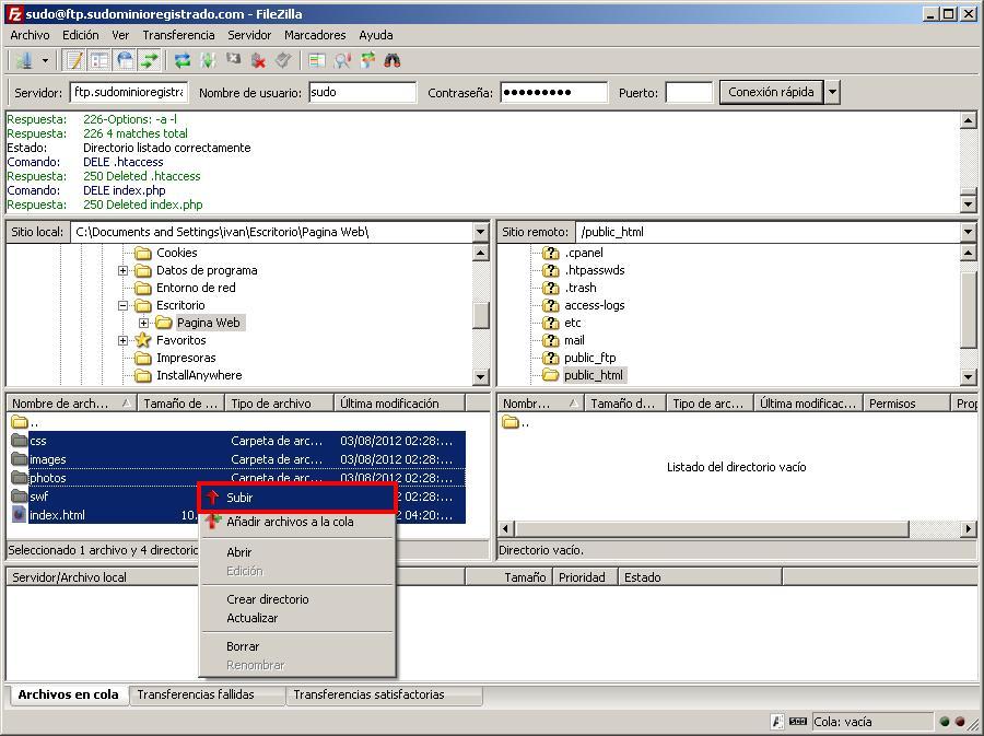 Opción subir archivos de FileZilla