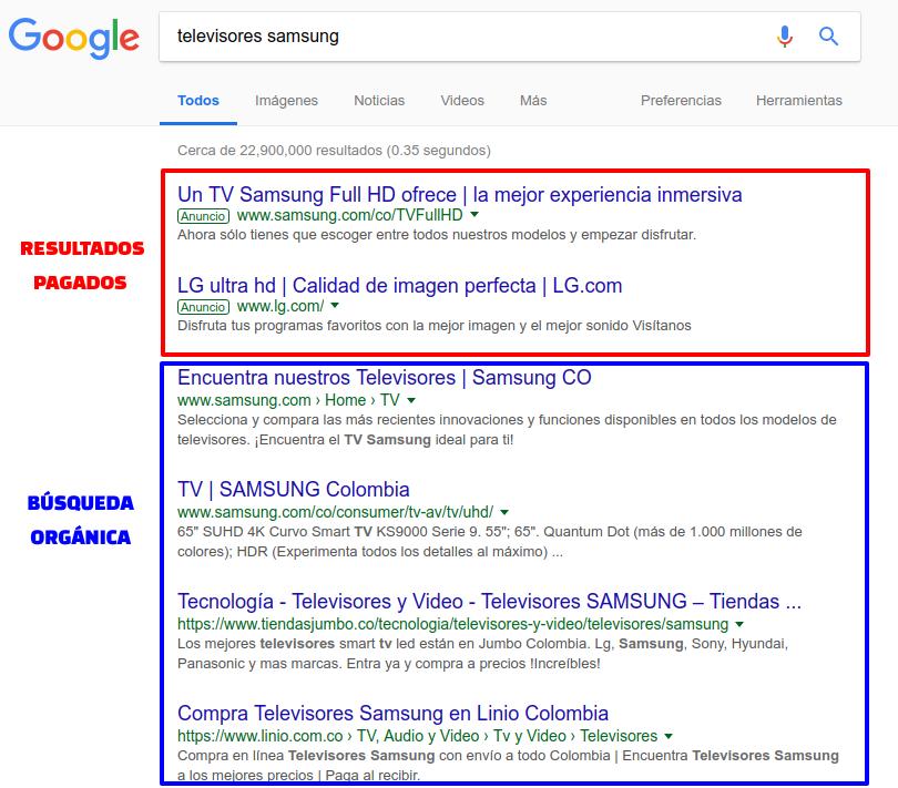 Resultados pagos y. organicos de Google