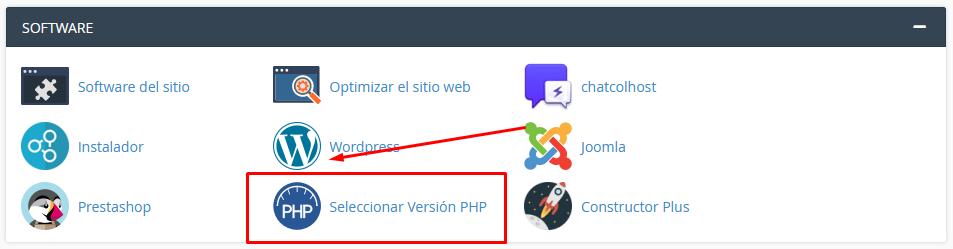 Seleccionar versión PHP