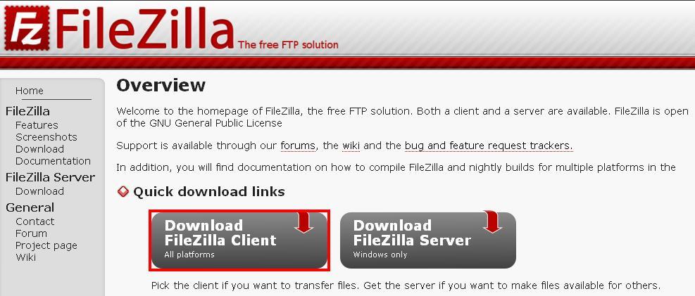 Sitio web del cliente FTP FileZilla
