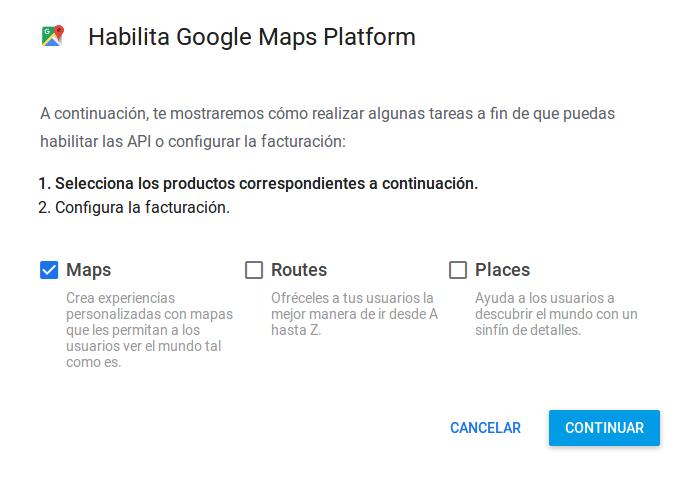 Seleccionar Google Maps