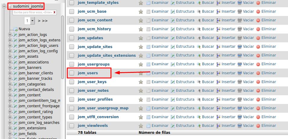 Tabla usuarios de Joomla en base de datos