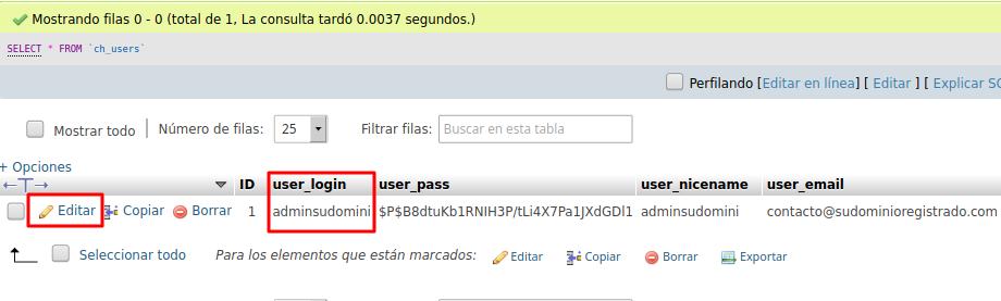 Editar usuario administrador en base de datos