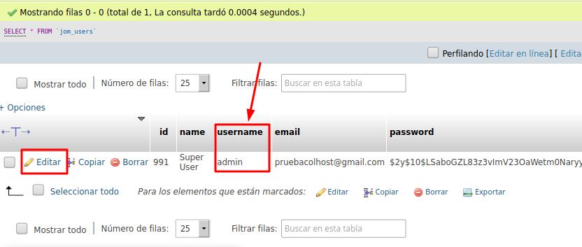 Usuario admin en la base de datos