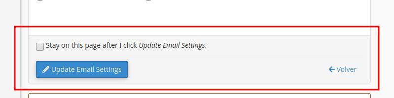 Botón de actualizar correo electrónico