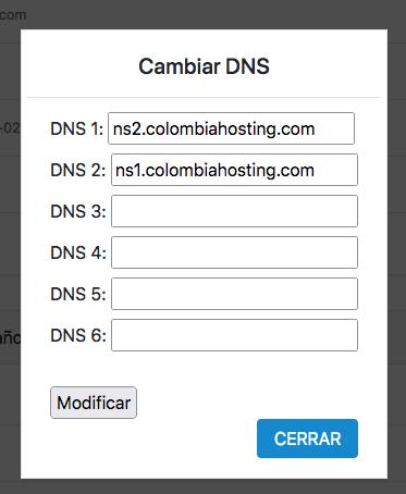 Formulario de cambio de registro DNS de un dominio