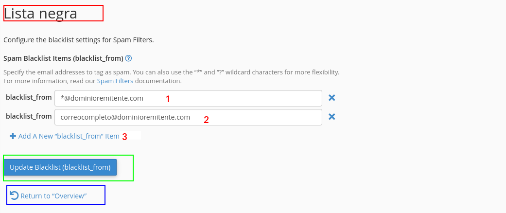 Formulario de lista negra en Spam Filters