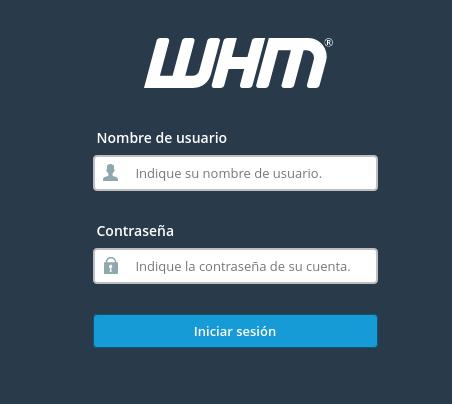 Formulario de inicio de sesión en WHM