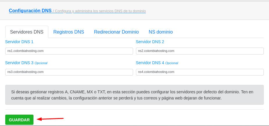 Guardar cambios de registros de DNS en mi.com.co