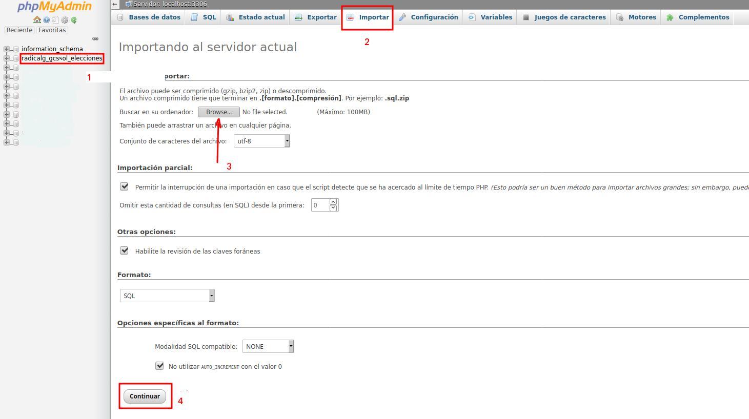 Opción importar base de datos en cPanel