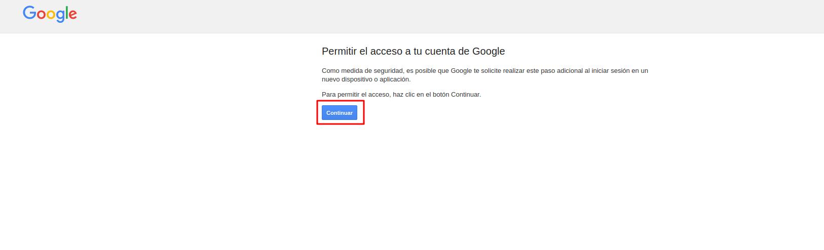 Permitir el acceso a la cuenta de Google