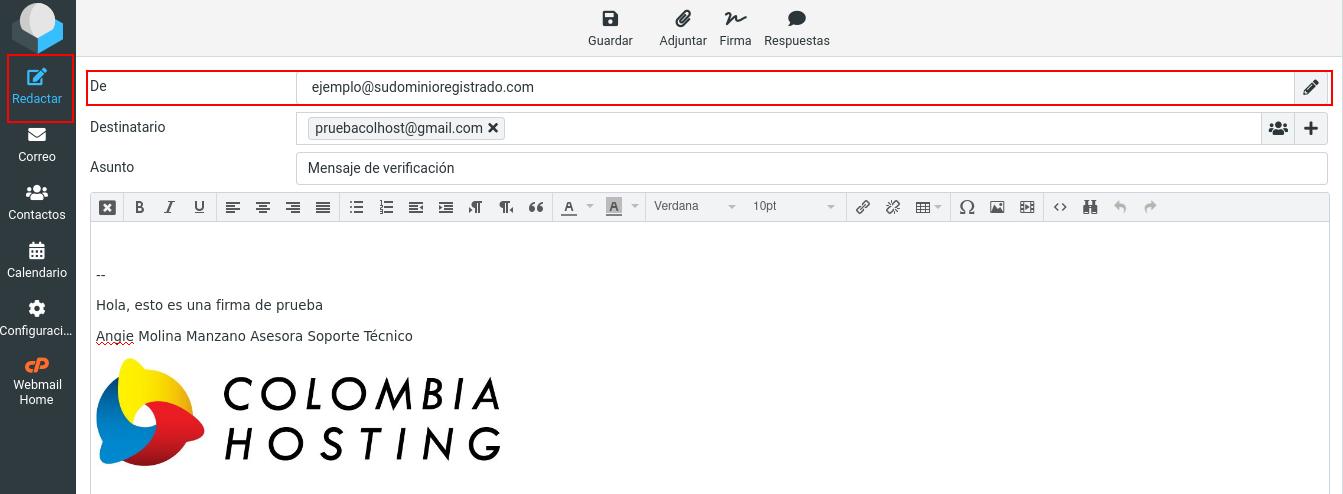 Redactar correo con firma configurada