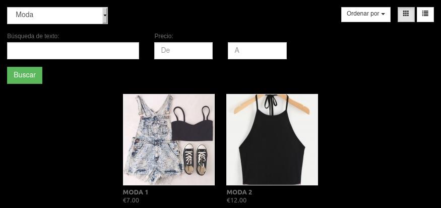 Vista final del filtro de moda