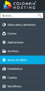Opción bases de datos desde el panel Plesk