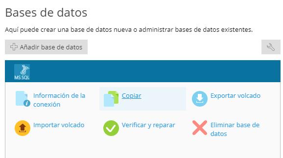 Opciones de bases de datos en Plesk