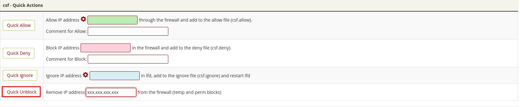 Alternativa para desbloquear ip en WHM