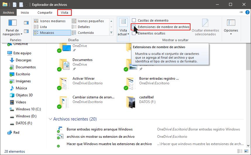 Mostrar la extensión de los archivos