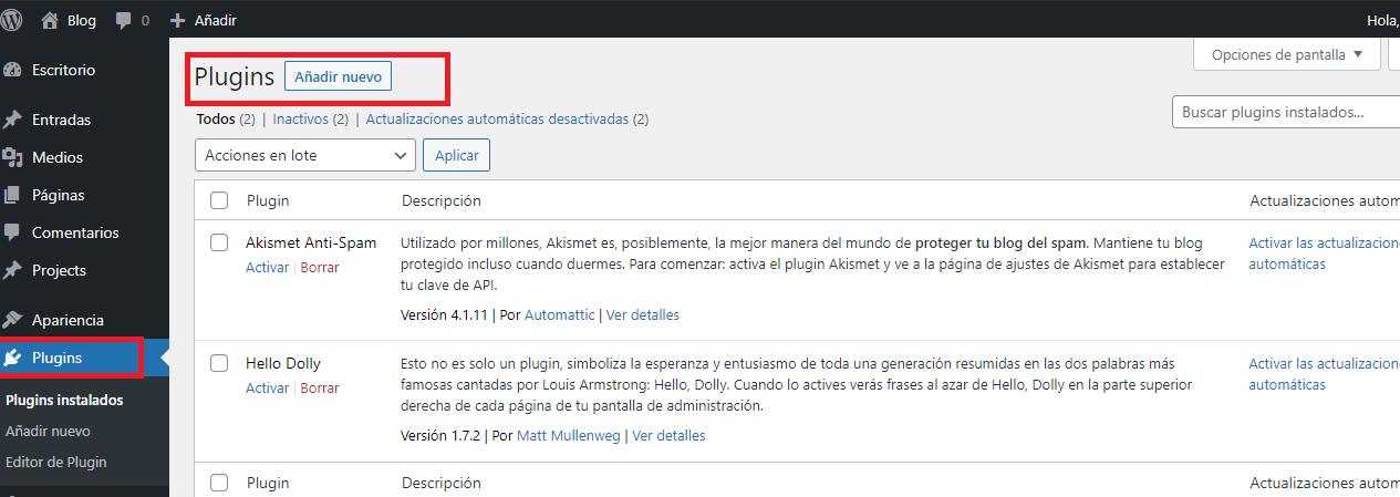 Añadir nuevo plugin de WordPress