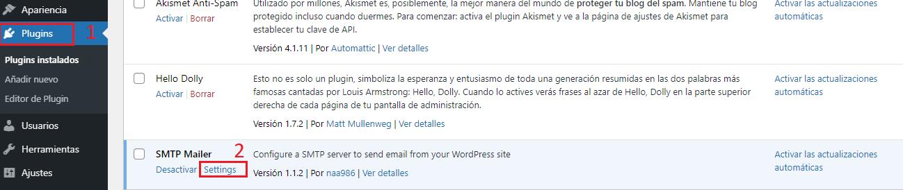 Configuración de SMTP MAILER
