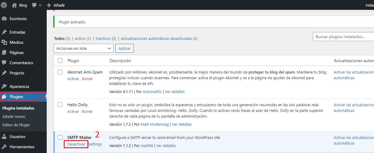 Desactivar plugin smtp mailer