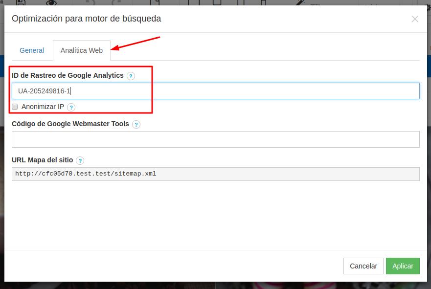 Ingresando ID de rastreo de Google Analytics