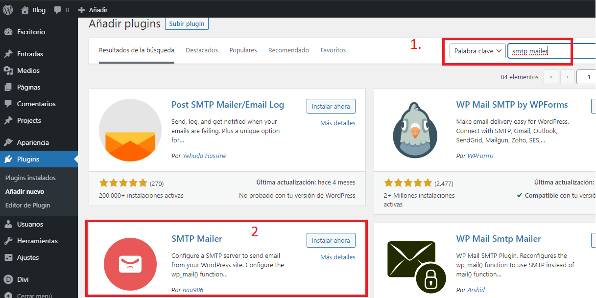 buscar el plugin smtp mailer