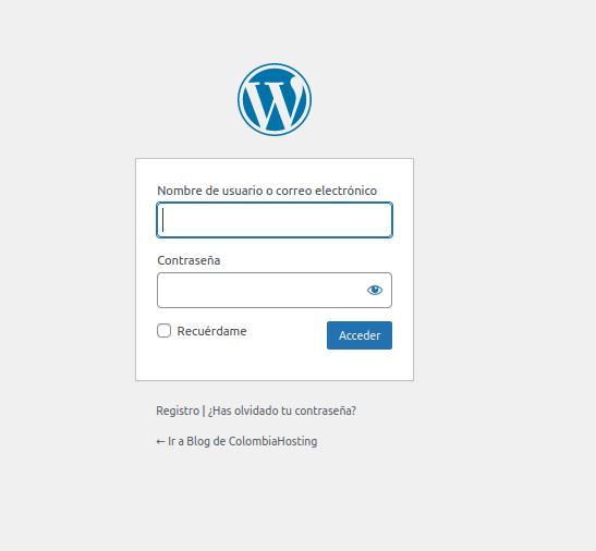 Interfaz inicio wordpress Login