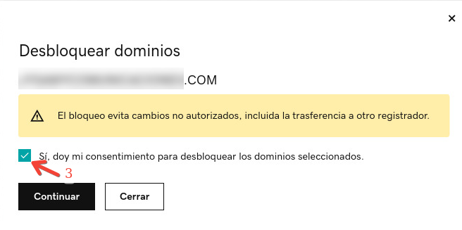 Aceptar terminos de desbloqueo de dominio