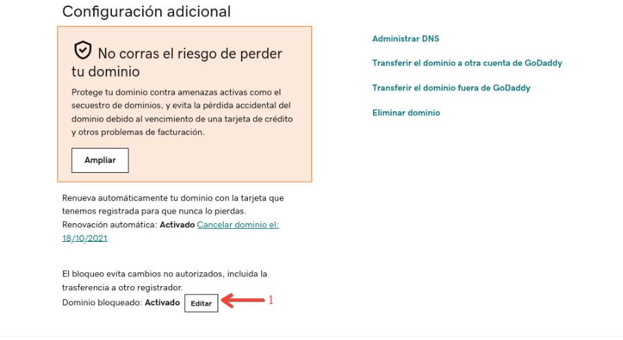 Editar dominio que se encuentra bloqueado