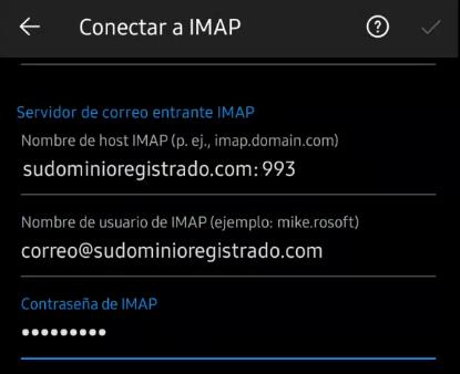 Configuración de correo entrante IMAP