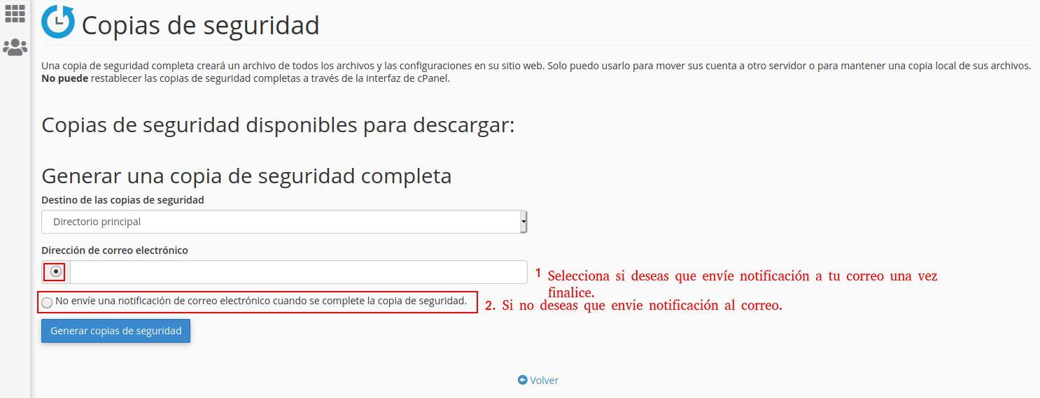 Recibir notificación cuando se genere la copia de seguridad