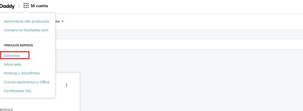 Opción dominios en el menú de GoDaddy