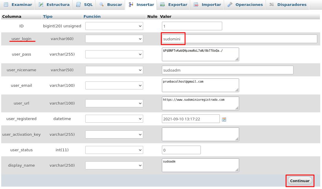 realizar y guardar nuevo usuario en base de datos